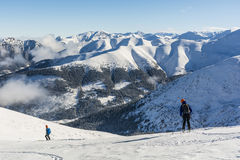 Ski touring in the Tatra Mountains. Royalty Free Stock Photography