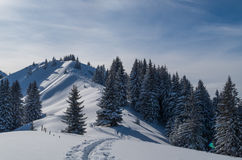 Ski touring track in beautiful sunny winter landscape, Oberstdorf, Germany Stock Photo