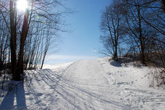Ski touring track. In the mountain royalty free stock image