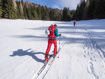 Ski touring winter activity Royalty Free Stock Images