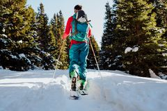Ski touring in winter in Austria. A sport growing in popularity, lots of skiers are turning to ski touring to improve their fitness, access backcountry terrain Royalty Free Stock Images