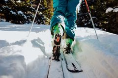 Ski touring in winter in Austria royalty free stock photography