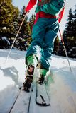 Ski touring in winter in Austria. A sport growing in popularity, lots of skiers are turning to ski touring to improve their fitness, access backcountry terrain stock photo