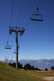 Ski tow in summer. Empty ski tow in summer, to climb bikers to the top of Chamrousse station Royalty Free Stock Photos
