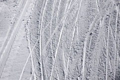 Ski traces on a snow Stock Photos