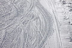 Ski traces on a snow on the mountain slope Stock Image
