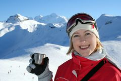 On the ski-track in Alps. Funny time on the ski-track in swiss Alps Royalty Free Stock Image