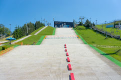 Ski track. Alternative ski track on a sunny day at the Malta park in Poznan, Poland Royalty Free Stock Photography