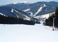 Ski track of Bukovel resort. Carpathian mountains, Ukraine royalty free stock photo