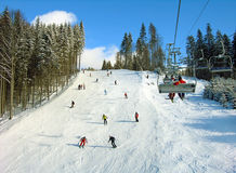 Ski track in Carpathian mountains Stock Photos