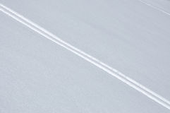 Ski track in fresh snow Royalty Free Stock Images