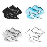 Ski track icon in cartoon style isolated on white background. Ski resort symbol stock vector illustration. Ski track icon in cartoon style isolated on white Stock Photography