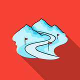 Ski track icon in flate style isolated on white background. Ski resort symbol stock vector illustration. Ski track icon in flate style isolated on white Stock Images