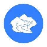Ski track icon isolated on white background. Ski resort symbol stock vector illustration. Ski track icon isolated on white background. Ski resort symbol vector Royalty Free Stock Photos