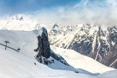 Ski track in Ischgl. Ski track among the rocks in the resort of Ischgl Austria, Europe Stock Photography