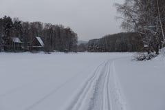 Ski track on the lake Stock Image