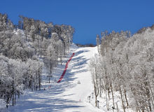 Ski track on a mounting skiing resort Stock Images