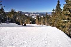 Ski track of Pamporovo resort. Pirin mountains, Bulgaria Stock Photo