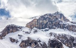 Ski tracks in Ischgl. Ski track among the rocks in the resort of Ischgl Austria, Europe Stock Photography