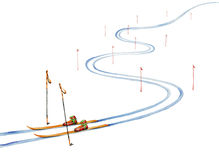 Ski track and ski equipment. Watercolor painting on white background Stock Photo