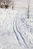 Ski-track in the snow Royalty Free Stock Photo