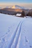 Ski track on snow. Royalty Free Stock Photos