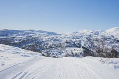 Ski track to the edge Stock Images