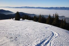 Ski track in winter mountain land Royalty Free Stock Image