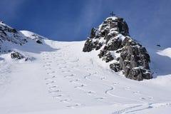 Ski Tracks Fotografia Stock