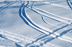 Ski tracks royalty free stock photography
