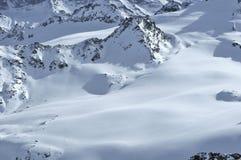 Ski tracks on alpine glaciers Stock Photos