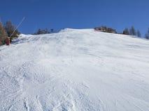 Ski tracks in the alps Stock Photo