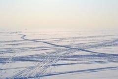 Ski tracks on frozen Gulf of Finland. Stock Photo