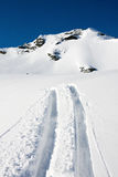 Ski tracks on a mountain Stock Photos