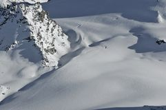 Ski tracks in the Mountains Stock Photo
