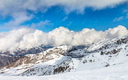 Ski tracks in Ischgl. Royalty Free Stock Images
