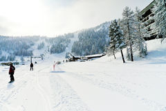 Ski tracks in skiing area Via Lattea, Italy Stock Image