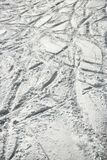 Ski tracks in snow. Royalty Free Stock Images