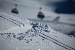 Ski tracks in snow Stock Image