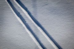 Ski tracks in the snow Royalty Free Stock Images
