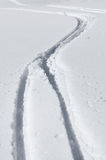 Ski tracks in the snow Stock Photos