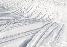 Ski tracks in the snow Stock Photos