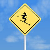 Ski traffic sign Royalty Free Stock Photo
