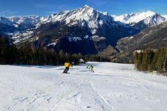Ski trail. Ski slope in the Austria Alps Royalty Free Stock Photos