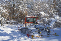 Ski trail grooming Royalty Free Stock Images