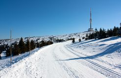 Ski trail on jesenik mountain Stock Photography