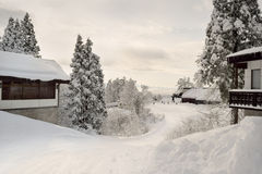 Ski trail from lodges to resort - Japan Stock Photo