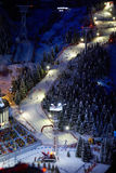 Ski trail at night with lights Stock Image