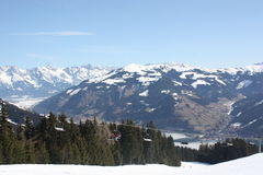 Ski trail and ski lift, Zell am See skiing resort. Royalty Free Stock Image
