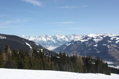 Ski trail and ski lift, Zell am See skiing resort. Royalty Free Stock Photo